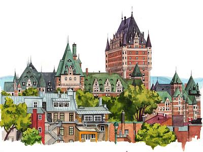 Cityscape. Canada canada city urban art painting drawing nature aquarelle sketch watercolor art watercolour illustration