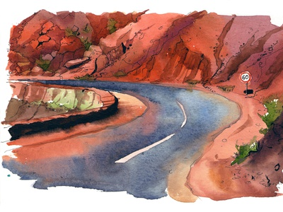 Red mountains painting drawing travel nature aquarelle sketch watercolor watercolour art illustration