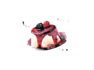 Pudding watercolour illustration food desert pudding