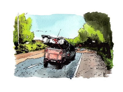 Watercolor Illustration Car car travel watercolour illustration