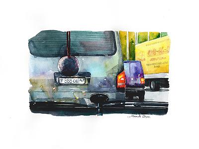 Car illustration road watercolour trip travel