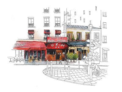 Paris city strit illustration watercolor france paris