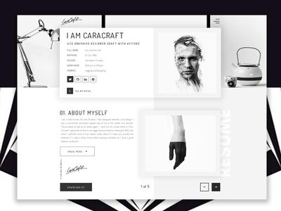 Caracraft | CV/Resume/ Personal Portfolio | 01_Black & White