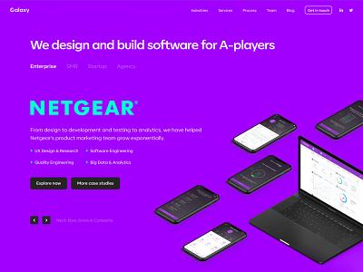 Galaxy web studio product creative direction branding ui ux design minimal user experience interface