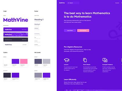 MathVine online education mathematics math design system design minimal user experience interface ux ui