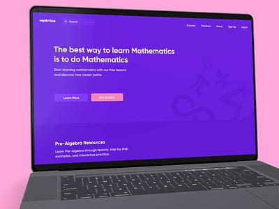 MathVine mathematics education math web design minimal user experience interface ux ui
