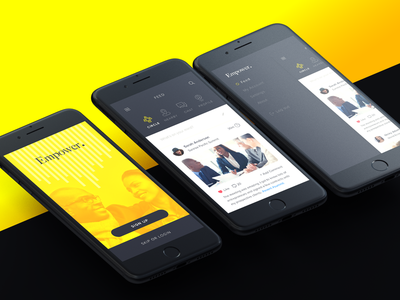 Empower interface ui ux american african yellow black minimal iphone mobile app ios