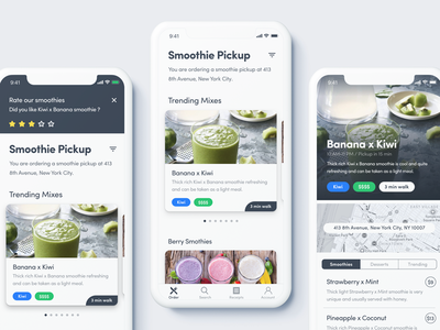 Smooth clean iphone x ios interface ux ui fruits delivery nutrition health smoothie