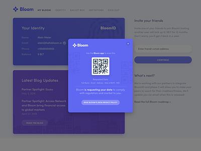 Bloom QR design user interface web design web interface ui ux banking fintech finance qr code qr