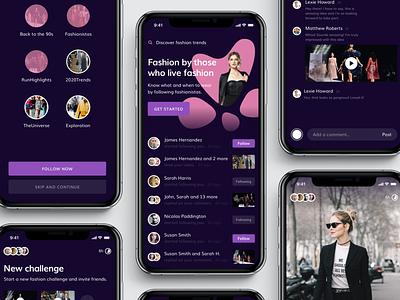 Fashionista ui ux streetwear trends clothing runway minimal mobile app iphonexs iphone ios purple design fashion