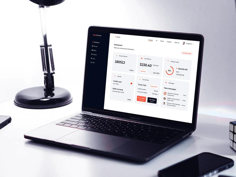 DataStream designer dashboard marketing metrics desktop web branding minimal clean product design design user interface user experience interface ui ux provider internet service data