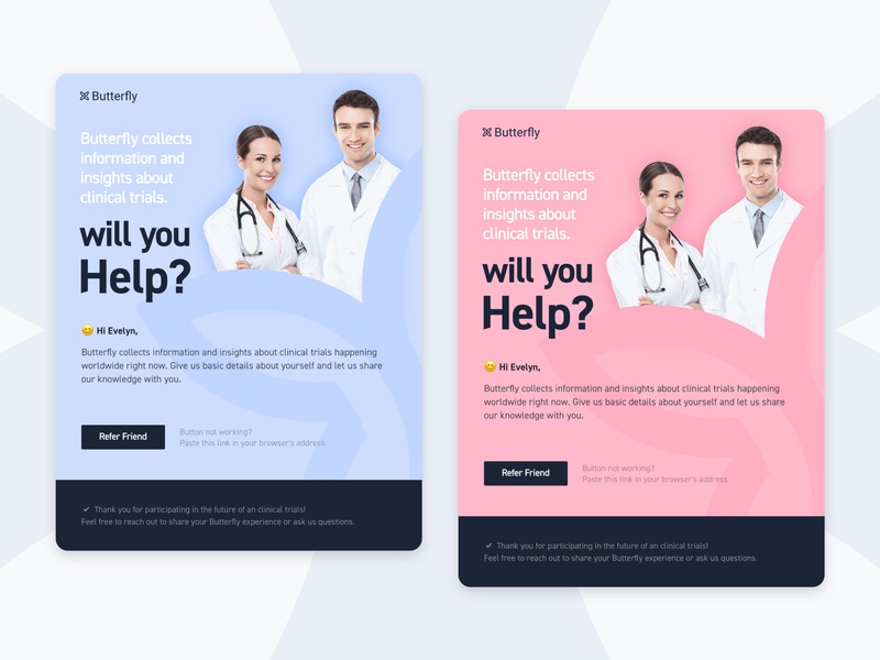 Butterfly Health logo web biotechnology biotech medtech technical startup visual design visuals product design graphic design branding campaign email hospital trial clinical healthcare health medical