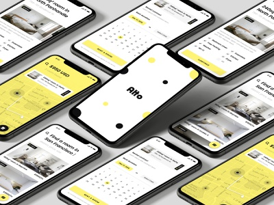 Alto creative direction user experience user interface branding product design ui ux yellow mobile app iphone ios mobile app search room market rentals rent property real estate