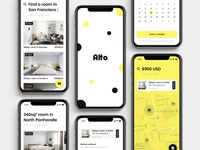 Alto branding product design minimal yellow user interface user experience ui ux iphone ios san francisco mobile app search market rentals rent estate real estate property