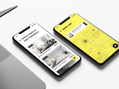Alto branding mobile app yellow product estate rentals rent market property real estate user interface product design iphone mobile user experience app interface ios ux ui