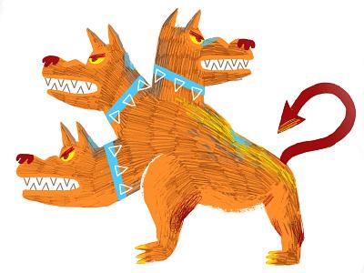 Cerberus animals textures digital illustration evil pencil drawing dog illustration mithology greek cerverus