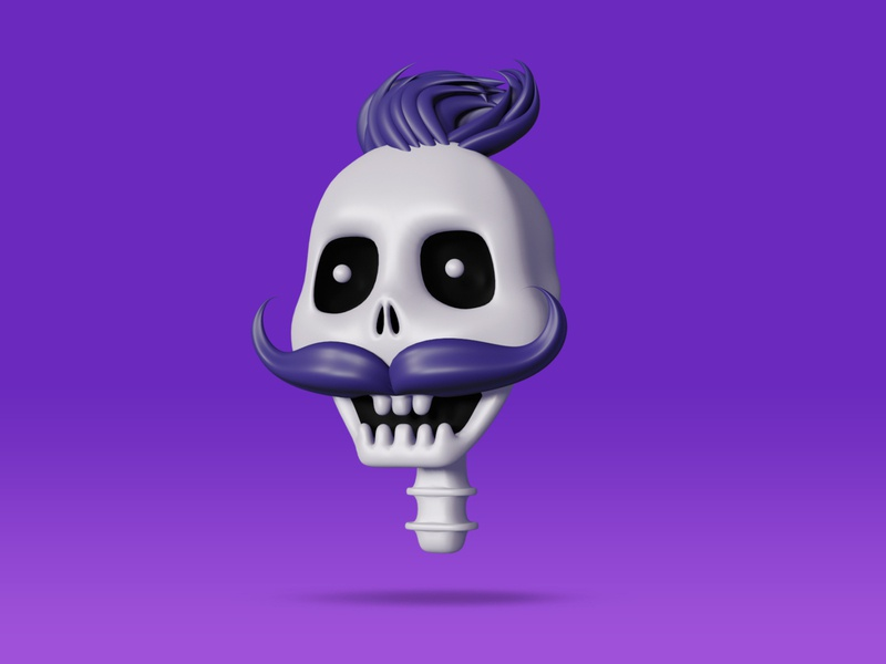 Skull blender illustration design cute 3dart eyes 3d character mustache hair skull art