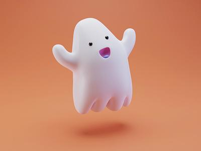 Ghosty happy ghost emoji illustration design blender 3dart cute character 3d eyes