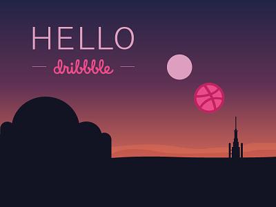 Hello Dribbble! tatooine welcome hello dribbble sky skywalker luke sunset sun desert star wars