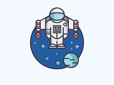 Spaceman stars space suit space spaceman rocket man planet linear jetpack fire