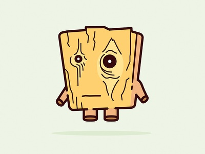 The Tired Plank of Wood cute small sad eyes character illustration tired wood