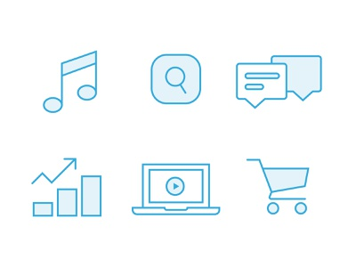Icons | Future of Media blue laptop bars finance app cart shopping tech future media player infographic chart chat search music