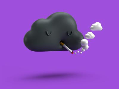 Smoking Cloud photoshop adobe illustrator adobe dimension cool dark black purple simple tiny clouds smoke cigarette cloudy smoking cute 3d character eyes cloud