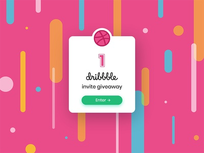 1 Dribbble invitation card giveaway pink pattern invitation invite dribbble color