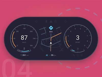 Electric Car Dashboard — UI Weekly Challenges S2 / W4/10 directions flat electric speed dark concept navigation map dashboard ui car