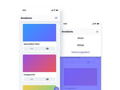 Gradients Web App - mobile screens gradient app web mobile iphone x ui ux user interface navigation preview