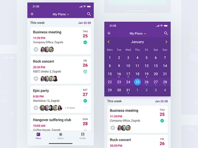 Events Listing - Event Planner App event plans planner app mobile iphone x ios ui user interface ux cards calendar