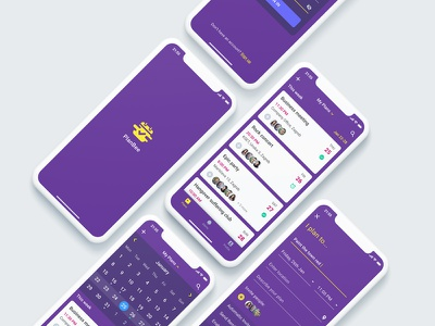 Event Planner App - preview screens calendar cards ux user interface ui ios iphone x mobile app planner plans event