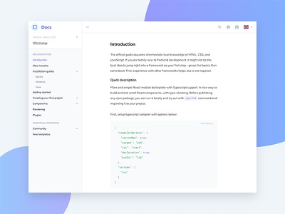 Documentation Page markdown concept app user interface ui page web docs programming documentation