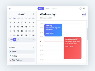 Calendar app exploration desktop app timeline schedule groups date macos user interface ui calendar