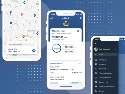 Mobile Banking App previews iphone x app concept mobile banking bank account user interface maps sidebar navigation statistics