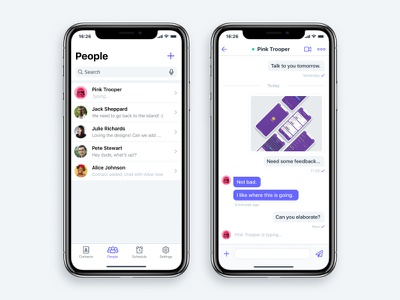 Chat App screens concept flat contacts list user interface ui ios iphone x mobile app chat