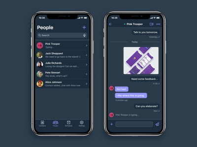 Chat App screens - dark theme chat app mobile iphone x ios ui user interface contacts list flat concept