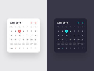 Calendar widget dark mode date apple widget app calendar concept user interface ui