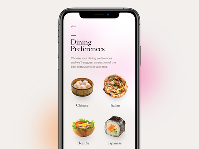 Dining Preferences UI restaurant app ios ios app food app dining food
