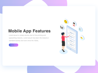 Mobile App Features Isometric