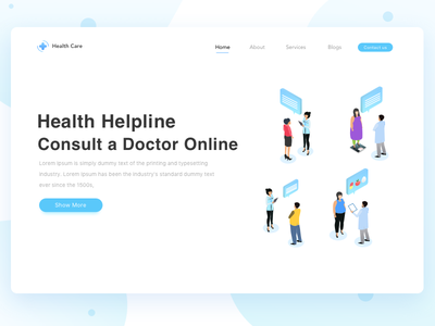 Health Care Landing Page dite consult helpline medical doctor isometric page landing care health