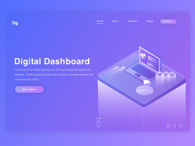 Digital Dashboard ui ux illustration gradient analytics data interface isometric web dashboard digital