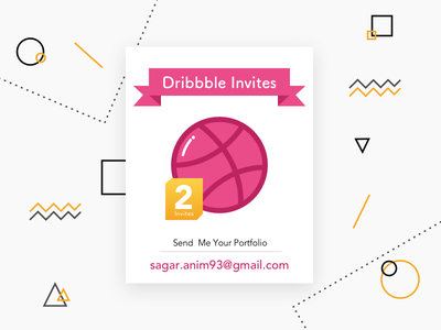 2 Dribbble Invites twoinvites illustration invites dribbble