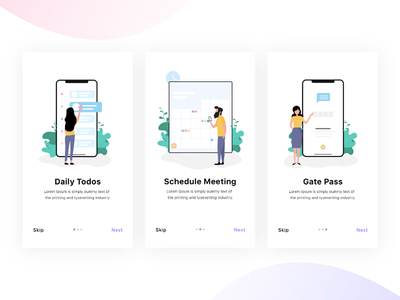 Todos App Onboarding adobe xd design vector art minimalist typography ui ux minimal gatepass meetings schedule todos onboarding mobile app illustration