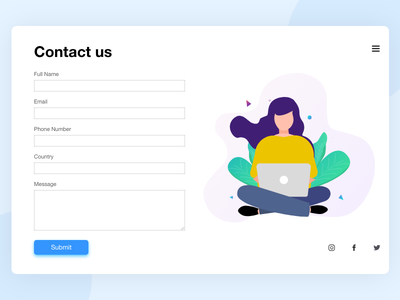 Contact us mobile web letstalk contact vector design minimalist illustration ui