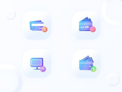 Payment Method Icons gradient color wallet netbanking debit card credit card vector logo design icon illustration payment
