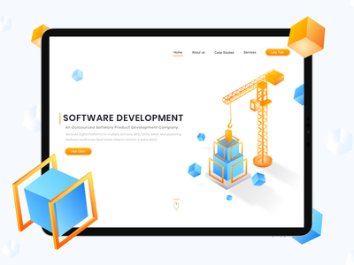 Software Development_Website visual design minimalist software isometric illustration isometric design website concept website vector design illustration