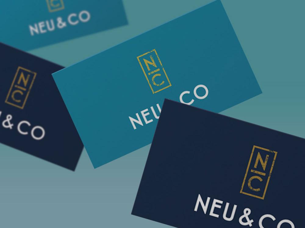 Neu And Co Logo And Brand Identity Business Cards logodesign design feminine logo feminine navy teal gold logotype logo businesscard