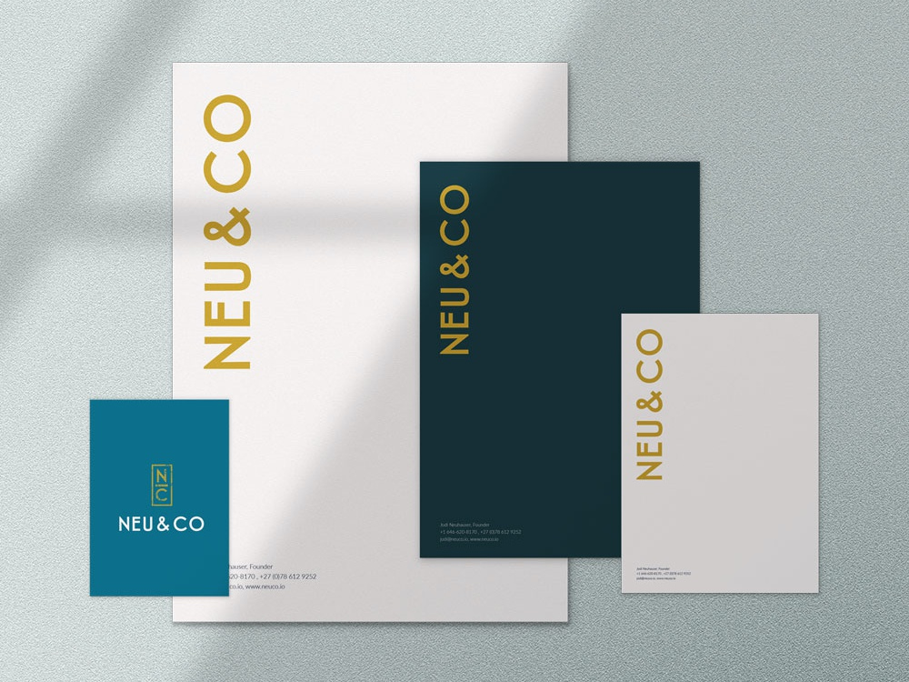 Logo And Brand Identity, Letterhead And Social Media gold teal navy blue business cards social media banner letterhead logo branding design brand identity
