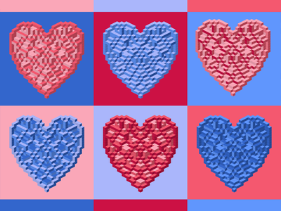 hearts 2.5d vector template illustration isometric
